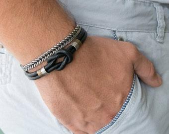 Men's Bracelet Set - Set of 2 Bracelets For Men - Men's leather Bracelet - Men's Jewelry - Men's Gift - Boyfriend Gift - Husband Gift - Guys