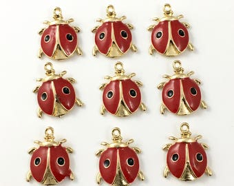 9  ladybug charm  red enamel and gold tone/ 24mm # CH 221-1