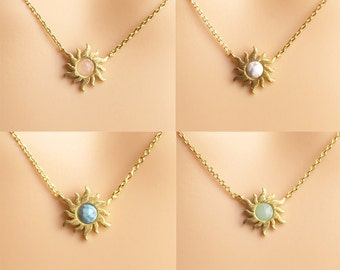 Sun Necklace, gemstone sunburst necklace,gold sun necklace,birthday present,graduation gifts,Necklaces,Christmas present,holiday gift
