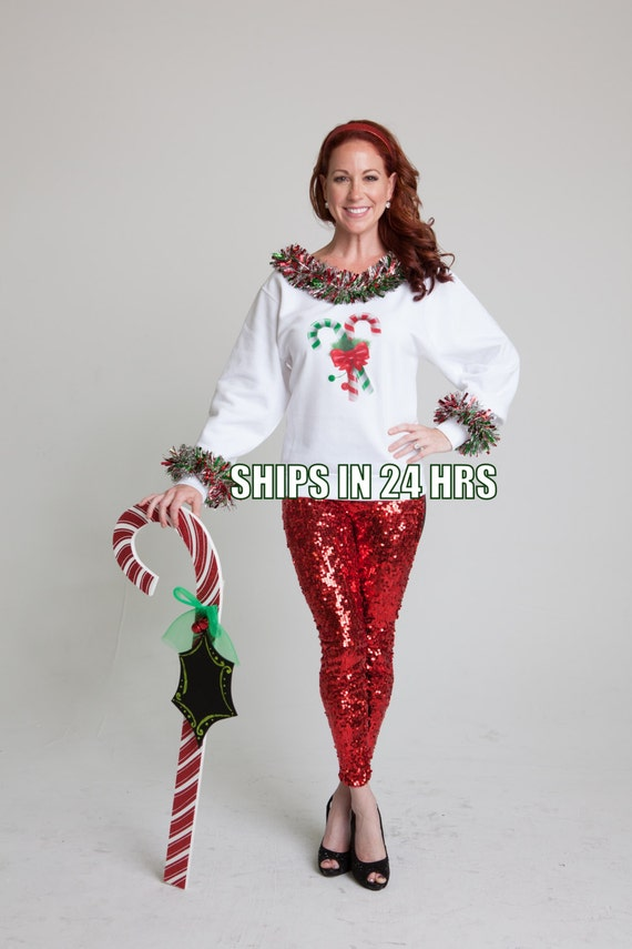 Womens ugly christmas sweater candy cane off shoulder tacky holiday