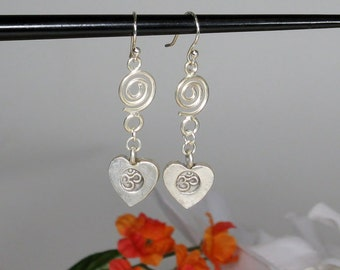 Sterling Silver Om Stamped Heart Charm Earrings