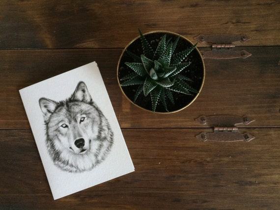 "Wolf Charcoal Drawing PRINT on 5""x7"" Card - Wildlife Portrait - Woodland Animal - Birthday Card - Christmas Card"