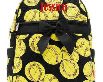 """Personalized Softball Backpack Black Yellow 15"""" Quilted Bookbag Monogrammed Kids School Tote Bag Embroidered Name Monogram"""