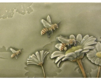 Ceramic tile, Workin for a Livin, art tile, 4 x 8 inches, honey bees