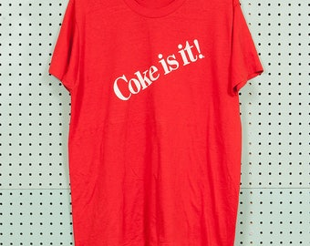 80s Vintage 'Coke Is It!' T Shirt Size M/L Coca-Cola 1980 Soda