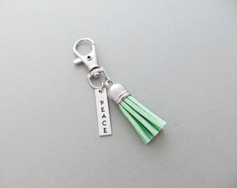 Tassel Keychain - with Personalized Hand Stamped Bar // Choose Your Tassel Color