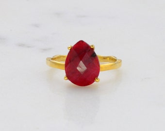 Ruby Ring - July Birthstone Ring - Stackable Ring - Gemstone Ring - Stacking Ring - Gold Ring - Tear Drop Ring - Prong Set Ring