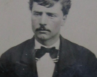 A Bad Comb-Over - Original 1870's Handsome Young Mustache Man Has A Bad Hair Day Tintype Photograph - Free Shipping