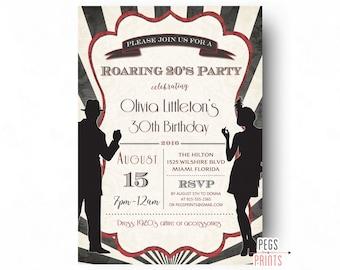 Printable Roaring 20s Invitation, Roaring 20s Birthday Invitation, 1920s Invitations, Roaring 20s Party Invitation, Great Gatsby Invitation