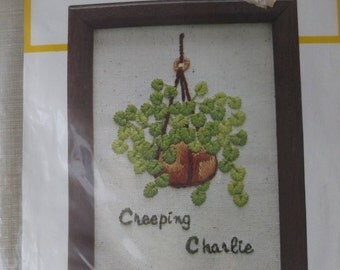 Creeping Charlie Vintage 70s Stitchkins Instant Stitchery Kits No. 2615 Never Opened Complete Greens and Browns