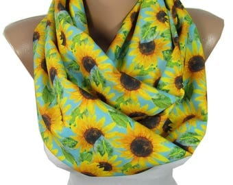 Sunflower Scarf Infinity Scarf Bohemian Women Fashion Accessories Floral Scarf Boho Scarf Birthday Gift For Her For Women Spring Summer Fall