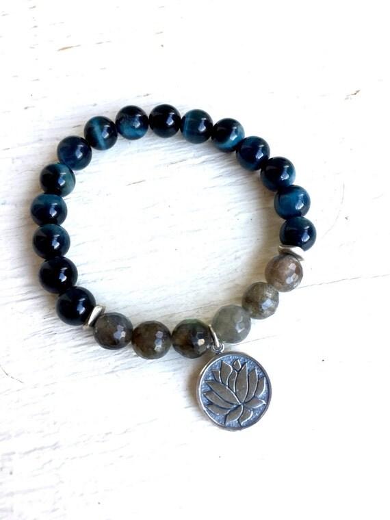 Sterling Silver Lotus Wrist Mala Beads, Labradorite, Blue Tiger Eye Mala Bracelet, Yoga Jewelry, Unisex Bracelet Third Eye Crown Chakra