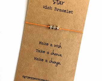Wish Friendship Bracelet ~ Silver STAR Beads ~ Waxed Cotton Cord ~ Make a wish, take a chance,make a change ~ adjustable, choose a color