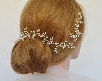 Pearl Baby's Breath Wedding Hair Vine, Pearl Bridal Headpiece, Bridal Hair Vine, Swarovski Pearl Hair Vine, Wedding Hair Accessory,