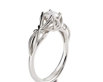 Moissanite engagement ring, Vintage Engagement Ring, Art Nouveau, engagement ring, Filigree engagement ring, 18K White Gold Ring, eng19