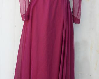 Magenta Prom Dress - Floor Length Alyce Designs Gown - Long Sheer Sleeve Maxi Dress - 80s Prom Dress with Sleeves - 1980s Homecoming Dress