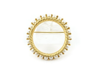 Vintage Faux Pearl Brooch, Circle, Gold Tone, Marked 10757
