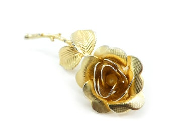 Vintage Rose Brooch, Gold Tone, Faux Pearl, Signed C