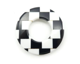 Vintage Checkered Brooch, Round, Lucite, Black and White
