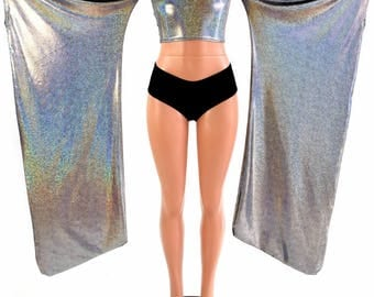 Silver Holographic Kimono Sleeve Crop Top with Black Zen Lined Hood (Top Only) Rave Festival Cosplay Wings  154415