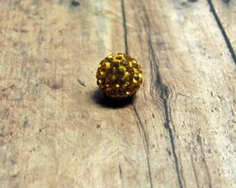 Topaz Swarovski Pave Ball Bead, Swarovski Article #86001, Pave Ball Bead, Topaz Swarovski Bead, Topaz Rhinestone Bead, Destash,