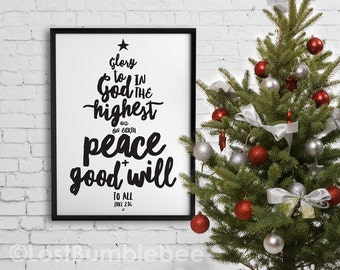 Black and White Christmas Verse Glory to God in the Highest Luke 2:14, 16x20 Poster size Digital File Instant Download by LostBumblebee