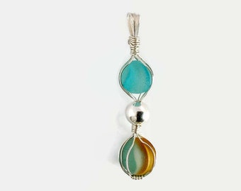 Aqua Sea Glass Marble Necklace, Wire Wrapped Sterling Silver Pendant