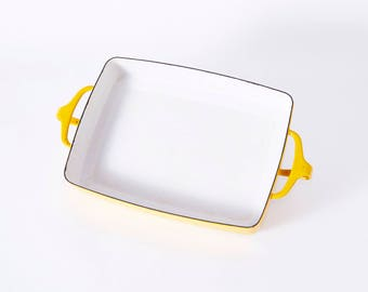 Mid Century Dansk Yellow and White Enamel Cast Iron Lasagne Pan