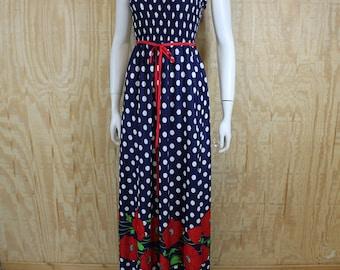 Vintage 1970's JERELL of TEXAS Poppy Border Polka Dot Print Hippie Halter Maxi Dress S / M