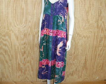 Vintage 1990's RAIN Indonesian Rayon Batik Hippie Babydoll Sun Dress Sundress M