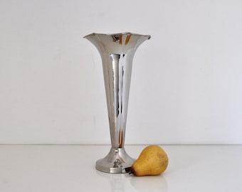 Vintage Silver Plate Trumpet Vase