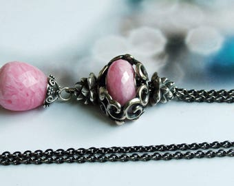 925 Silver Fantasy-Necklace with facetted Rhodochrosite  Pendant