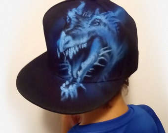DRAGON Snapback Hat  Blue Dragon Baseball Cap  Hand painted cap  Airbrush hat  Custom Graffiti hat with NAME  The Never Ending Story dragon