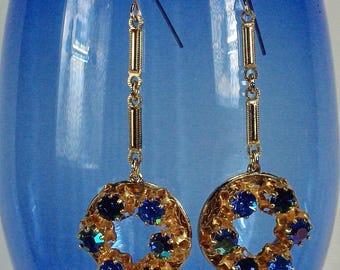 Vintage Austrian Earrings, 50's Blue Rhinestone Earrings, Vintage Blue Bridesmaid Earrings, Blue AB Earrings, Small Elegant Blue Earrings