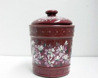stoneware jar burgundy kitchen canister food storage hand painted canister - Maroon Kitchen Decor
