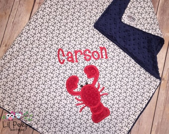 Lobster - Personalized Minky Baby Blanket with Embroidered Lobster- Anchor print