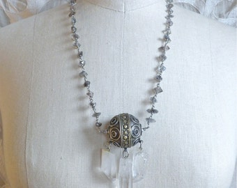 Herkimer Diamond and Silver Bead Necklace