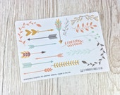 Cute Arrow & Laurel Planner Stickers; Bujo Stickers; Bullet Journal; Page Break Stickers; Decorative Stickers; Leaf Stickers