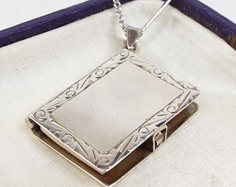 Antique Edwardian Sterling Silver Notebook with Paper Pages Locket Necklace