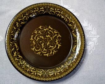 Vintage Franciscan Jamoca Salad Plate Earthenware Brown Gold Scroll California USAPanchosporch