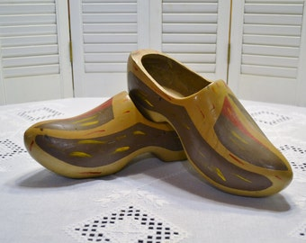 Vintage Wooden Shoes Painted Clogs Large Size Worn Earthy Colors Rustic Home Decor PanchosPorch
