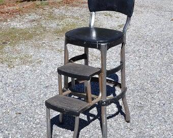 Vintage Cosco Kitchen Stool Metal Folding Step Stool Chair Black Retro Kitchen Vinyl Seat PanchosPorch