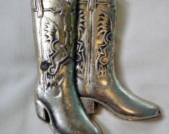 Vintage 1979 Cowboy Boots Baron Belt Buckle Solid Brass