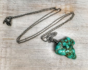 Stone turquoise necklace ~ Gemstone turquoise jewelry ~ tribal ~ birthstone jewelry ~ raw and genuine