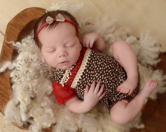 Newborn Romper & Tieback Headband, Brown, White Dots, Red, Newborn Girl Outfit; Newborn Outfit Prop; Newborn Overall; Newborn Photo Props