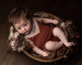 Newborn Girl Outfit Prop; Newborn Romper; Brown; Beige; Newborn Overall; Newborn Photo Prop; Baby Romper; Newborn Prop; Newborn Photography