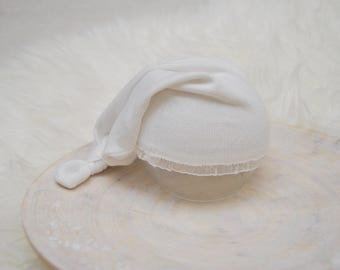Newborn Hat, Sleepy Hat, White Knot Hat, Baby Hat, Newborn Photo Prop, Newborn Props, Baby Picture Prop, Photography Prop, Newborn Girl Prop
