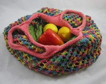 Rainbow Beach Bag / Grocery Market Bag / Knit Mesh Purse - for produce, towels, bagels and breads - colorful star expanding reusable tote
