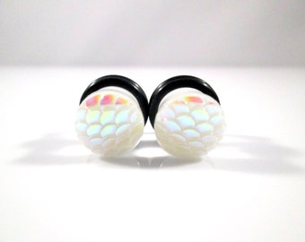White AB Finish Mermaid Scale Dragon Scale Plugs - Available in 4g, 2g, 0g, and 00g