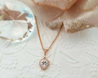 Rose Gold Heart Necklace, Romantic Gift, Pink Gold CZ Heart, April Birthstone, Small Heart Necklace, Blush Heart, Valentine's Gift, N2804